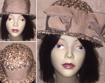 Vintage 1950s 50s 1960s 60s Light Brown Taupe Mocha Colored Cello Straw Woven Hat with Brim and Large Bow