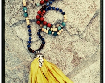 Long Tassel Necklace//Yellow Sari Silk Tassel//Blue Solidite//Red Agate//Wooden & Glass Beads- Silver Accents/Hamsa Hand Charm - Mala/Yoga