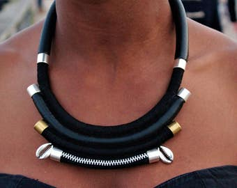 Anaqa black leather bib necklace elegant