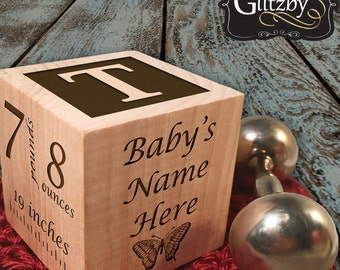 Unique baby gift etsy baby gift personalized block for baby boy or baby girl gift keepsake block personalized baby gift negle Gallery