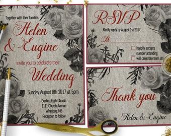Floral Kraft Paper Wedding Invitation Printable Chic Rustic Flower Spring Summer Download Digital File Elegant