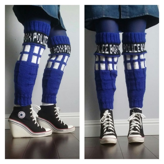 Knitting Pattern For Thigh High Leg Warmers : Knit TARDIS Police Box Thigh HIgh Leg Warmers Pattern