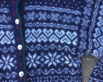 Vintage wool sweater, LL Bean sweater, made in USA sweater, fair isle sweater, snowflake sweater, grandma sweater, wool cardigan sweater