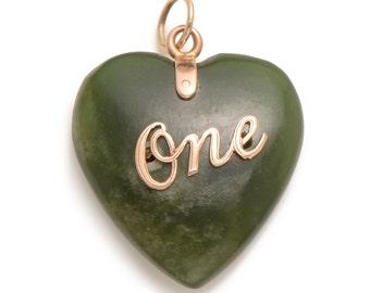 Antique Jadeite Heart Pendant