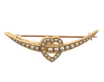 Victorian Crescent and Heart Brooch