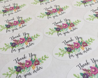 Thank you for your order  stickers , sheet of 33, 4.5cm x 2.4cm, floral , finishing touches