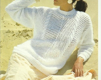 pdf Vintage Ladies Sweater with Lace and Cable Knitting Pattern.