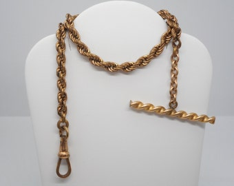 Antique Victorian Pocket Watch Chain Fob Heavy Gold link Unusual T-Bar