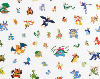 White Multi Pokemon Cotton fabric