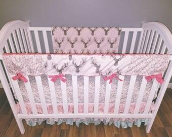 Floral Deer Crib Bedding
