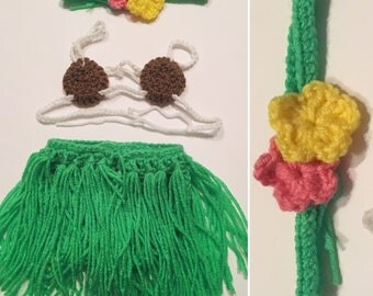 Crochet Baby-Child Hawaiian Hula Outfit (Headband and Top Included) Sizes newborn-4T