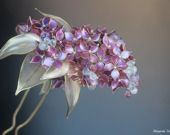 Purple Lilac. Kanzashi. Hair stick. Rezin Kanzashi. Hair pin. Can make TO ORDER for 4-6 weeks.