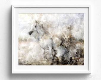 Horse art, horse decor, horse wall art, watercolor horse, digital horse print, arabian horse art, horse artwork, stallion art horse painting