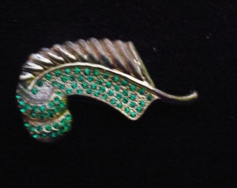 Vintage Leaf Brooch, Gold-tone with Small Green Rhinestones