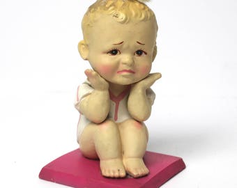 Vintage Genuinely Distraught Baby Figurine - Made in Japan
