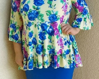 High/Low Ruffled Top w/Flared Sleeves *yellow background w/pink, royal blue, and greens* many colors available*