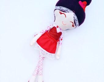 Valentine, love doll, handmade rag doll, soft toy, girl, Valentine's Day gift, birthday present, heirloom keepsake, happy Valentines Day kid