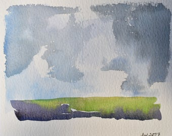 watercolour landscape original painting paper signed sky clouds fields weather
