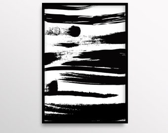 Abstract Art, Brush Strokes Print, Modern Art, Black and White Print, Abstract Painting, A3 art, 8x10in print, Downloadable Wall Art, Decor