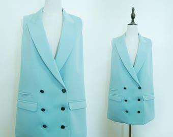 Mint Green Women Suite Vest Waistcoat Sleeveless Vintage Jacket