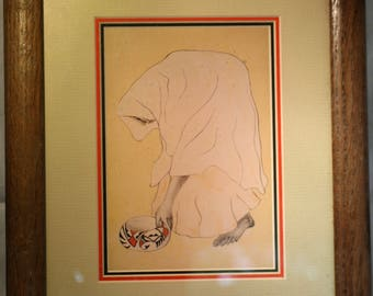 R.C. Gorman Numbered Lithograph * Native American Woman with Bowl
