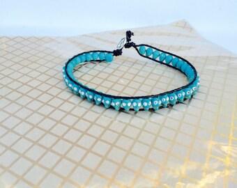 Turquoise skull swarovski crystal choker necklace
