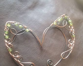 Wire wrap Elf Ears with Peridot