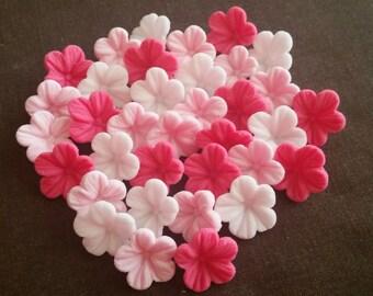 30 Edible Sugar Paste Pink Petunia Flowers Birthday Wedding Anniversary Party Cake Cupcake Toppers