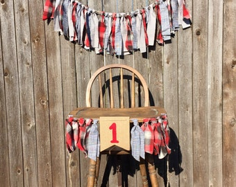 RTS Lumberjack First Birthday Decorations - Cake Smash - High Chair Banner - Plaid - Rustic - Boy