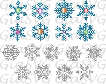 Snowflakes Monogram svg, winter snowflakes clipart svg, ready to cut files for Cricut, Silhouette etc, also in png, eps & DXF format