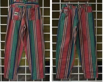 Vintage 90s Cross Colours Pants Baggy Pants Hip Hop Pants Color block Striped Pants Tupac Size 34 Made in USA