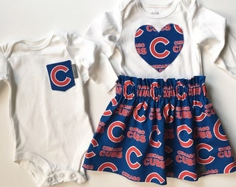 Chicago Cubs Onesie, Cubs Pocket Onesie, Cubs Skirt and Onesie, Baby Cubs Fan, Baby Boy, Baby Girl, Chicago Cubs Burp Cloths, Baby MLB Gift