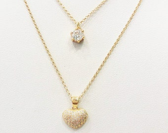 Layered Necklace Set / Zircon Solitaire Necklace / Heart Necklace / Layering Necklace / Double Chain Pendant / Sterling Silver / Gold Plated