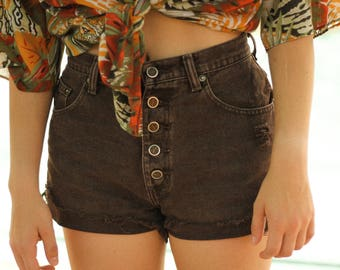 Vintage Brown Button-Up High-Waited Cut-Off Shorts