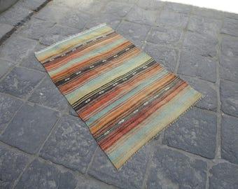 Kilim rug,Striped design rug,Kilim Turkish vintage oushak rug, dowry rug,textile art 47 x 30 inches,boho rug,black rug,hand woven kilim rug