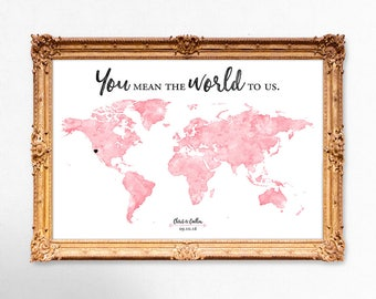 World map wedding guest book - watercolor world map guest book - You mean the world to us - 18x24 - 20x30 - 24x36 - PRINTABLE