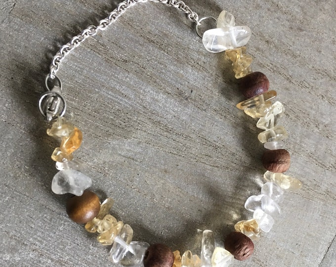 Citrine faerie bracelet with wooden beads