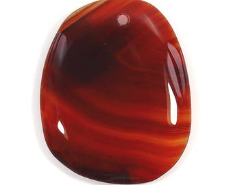 Orange Carnelian, Oval Cabochon 40x32mm, Red Sardonyx Genuine Gemstone, Flat Free Shape Cab with hole, Pendant Gemstone, Wire wrapped Stone