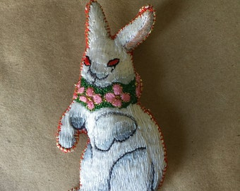Embroidered Cloth Easter Bunny Ornament