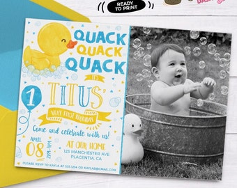 Rubber Ducky birthday photo invitation Yellow Rubber duck Birthday invitation Printable blue yellow duck party invitations watercolors duck