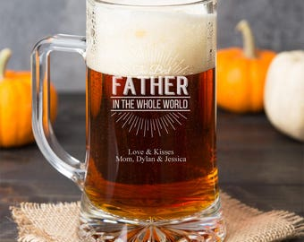 The Best Father In The Whole World Personalized 15 oz Beer Mug - Father's Day Gift - Birthday Gift - DGI23-A15