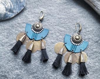 Earrings black PomPoms, charms, bronze, green, Bohemian gypsy ethnic