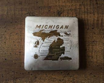 Square Metal Michigan Powder Compact 1960s