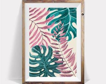 Monstera Leaf Print,Monstera Leaf,Modern Plant Print,Monstera Wall Art,Monstera Deliciosa,Plant Print,Tropical Leaf,Palm Leaf Print,Monstera