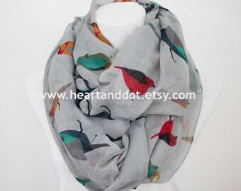 gray bird scarf, bird infinity scarf, gift for her, for women, scarf for her, scarf for women, christmas gift, for mom, christmas scarf