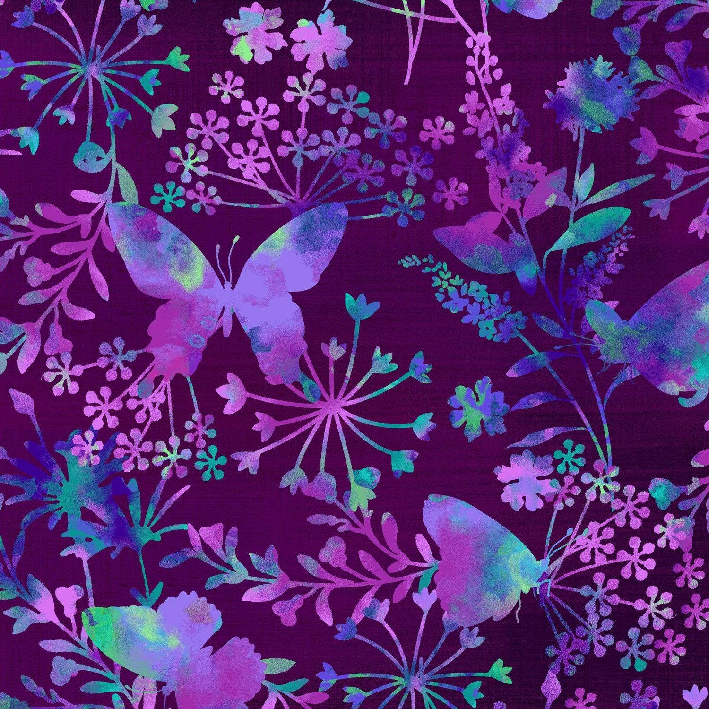 Mariposa Meadow Dark Purple Butterfly Focal Print By