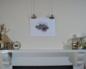 Hand-drawn lion fish illustration