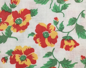 Vintage Feedsack Floral Fabric
