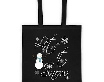 Tote bag/LET IT SNOW/Tote/Cotton/Canvas Tote/Bag