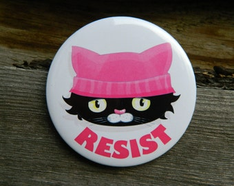 Resist Pin, pussyhat, Anti Pins, pink pussy hat pin, pussycat hat brooch Protest Badge Button Pinback Nasty Woman Washington Pussy pin